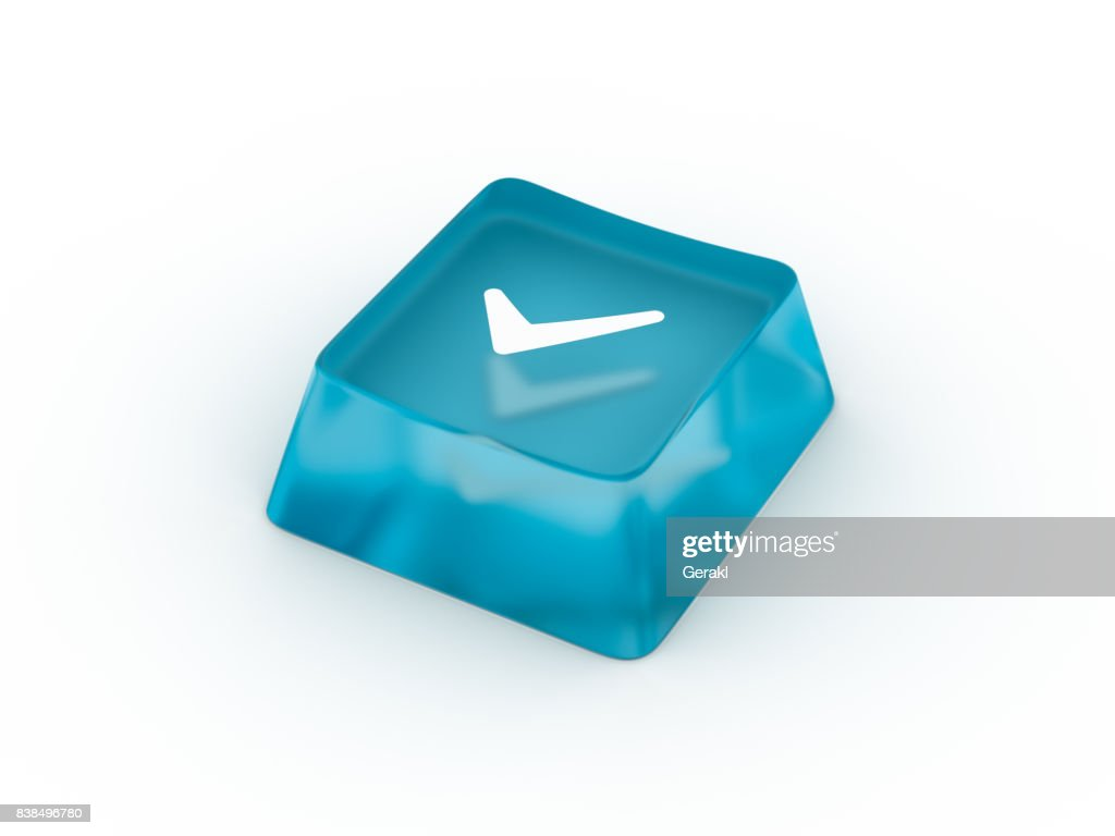 Check Mark Symbol On Keyboard Button 3d Rendering Stock Photo