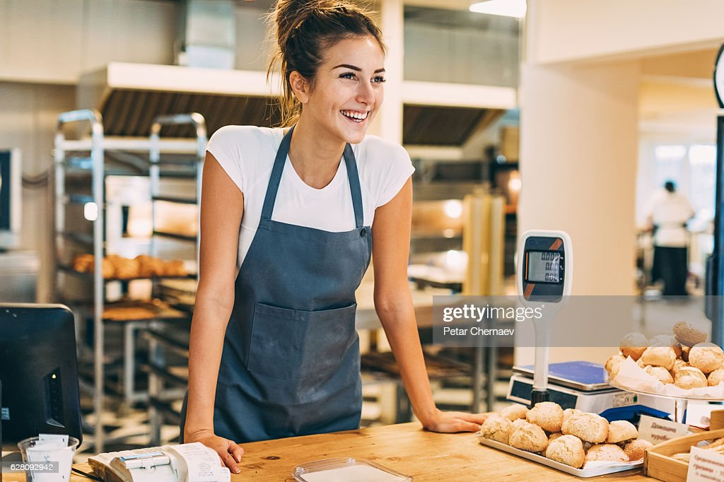 Check out counter in the bakery : Stock Photo