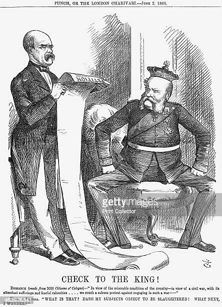 'Check to the King' 1866 Bismarck the Prime Minister of Prussia reads a petition stating the objections of the citizens of Cologne to war The King of...