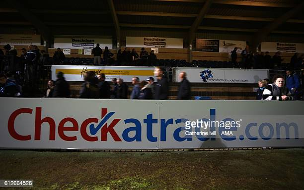Checkatrade advertising board during the Checkatrade trophy match between Wycombe Wanderers and West Ham United at Adams Park on October 4 2016 in...