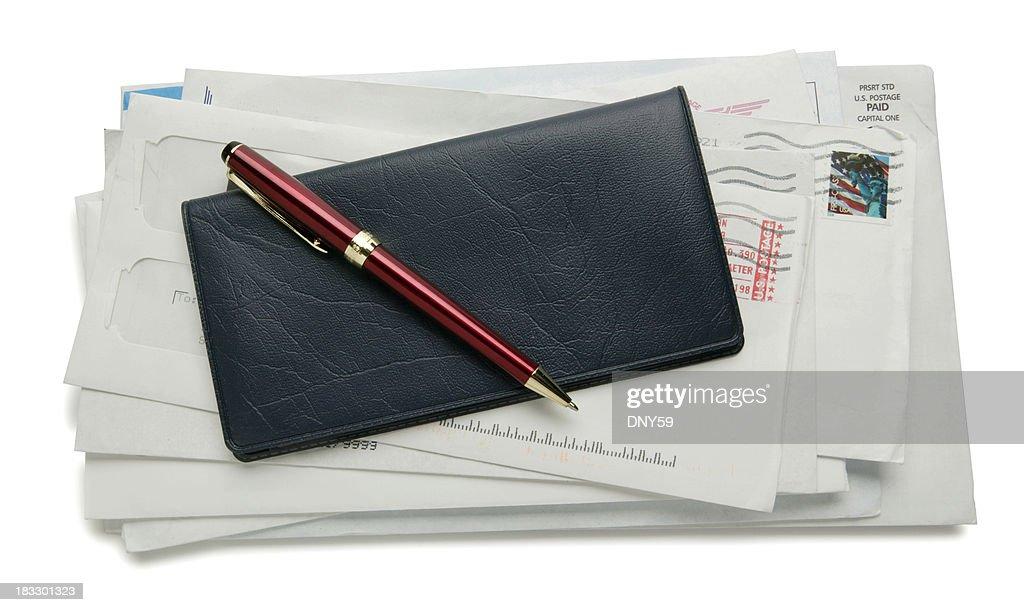 Checkbook & Bills : Stock Photo