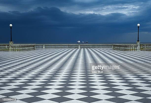Checked Stone Boardwalk, Promenade by the Sea