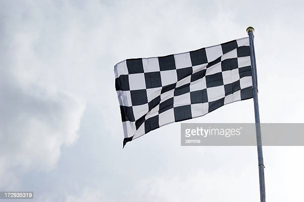 Checkered Flag On Sky Background