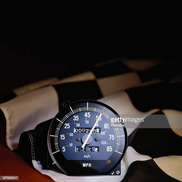 Checkered Flag with Speedometer