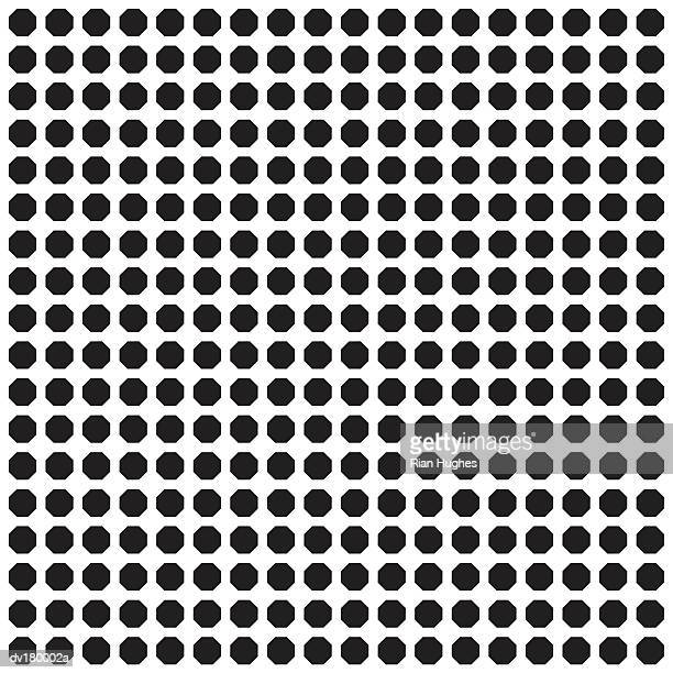 Checkered pattern of black octagons on white background