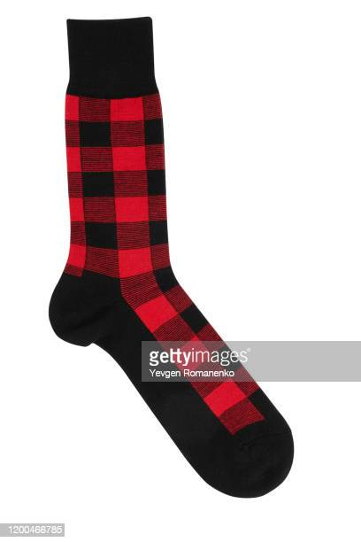 checkered sock on white background - sock stock pictures, royalty-free photos & images
