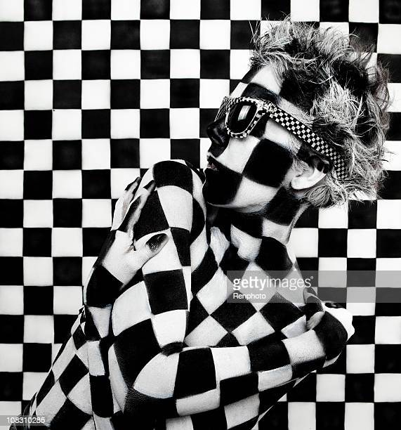Checkered Woman: Art Body Paint Photo
