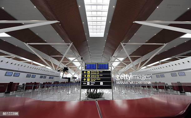 Checkin counters are seen at the newly inaugrated domestic departure terminal at the Indira Gandhi International Airport in New Delhi on February 26...