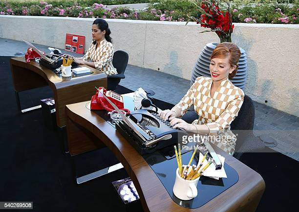 Checkin desks at the grand reopening party of the iconic Watergate Hotel on June 14 2016 in Washington DC