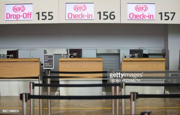 Checkin desks of airline Niki are seen at the Vienna International Airport in Schwechat Austria on December 14 2017 Austria said it has begun...