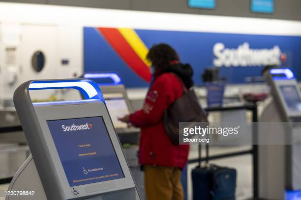 Check-in kiosk at the Southwest Airlines check-in area at Oakland International Airport in Oakland, California, U.S., on Tuesday, Jan. 19, 2021....