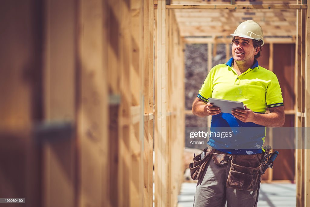 Checking Construction Site : Stock Photo