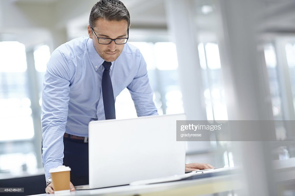 Checking his presentation notes : Stock Photo