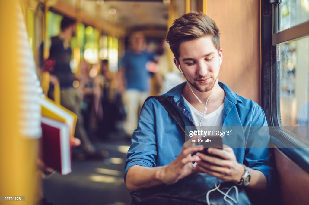 Checking messages : Stock Photo
