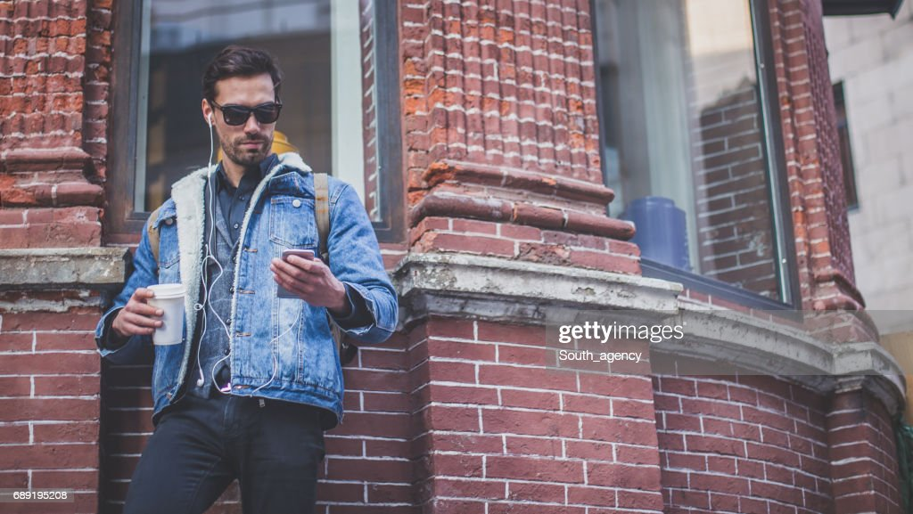 Checking out new tunes : Stock Photo