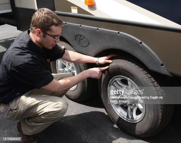 Checking RV Maintenance at Tom Schaeffer's RV Super Store, in Shoemakersville, with Aaron Bashore, service advisor. Inspect tires for proper air...