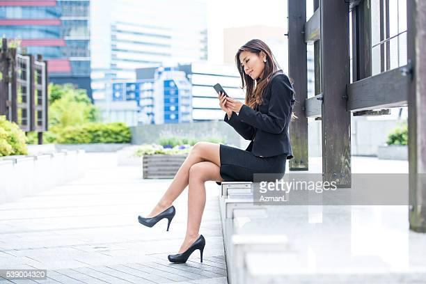 Checking social media on a break