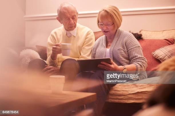 Checking their finances online