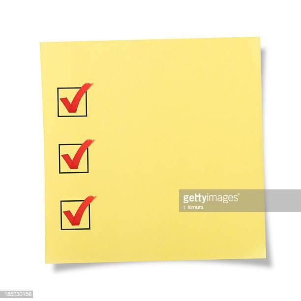 Liste de choses à vérifier