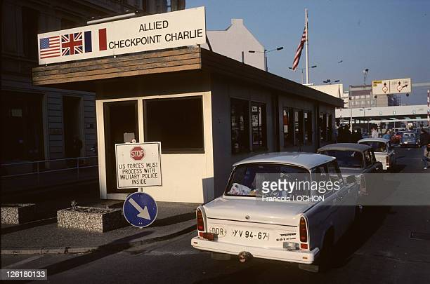 Checkpoint Charlie and Berlin Wall during 1989 in BerlinGermany