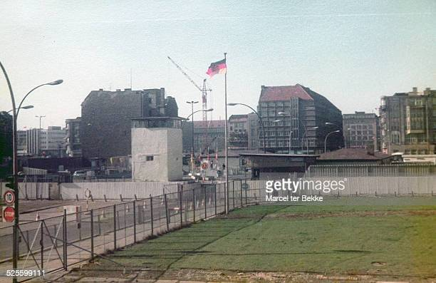 Checkpoint Charlie at the Berlin wall in 1984 analog photo