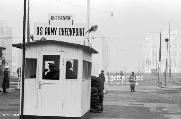 Checkpoint Charlie at the junction of Friedrichstrasse with Zimmerstrasse in Berlin Germany 1961