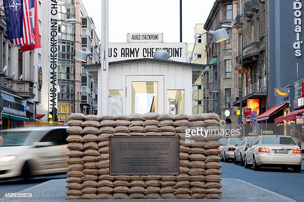 checkpoint charlie, berlin, germany - checkpoint charlie stock photos and pictures