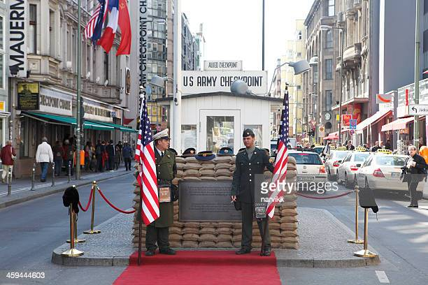 checkpoint charlie in berlin - checkpoint charlie stock photos and pictures