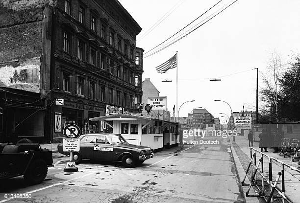 Checkpoint Charlie the border crossing between East and West Berlin seen from the western side