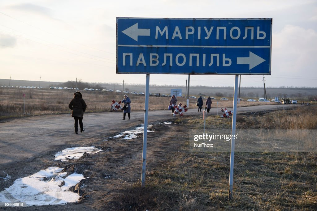"Checkpoint ""Hnutove"" in Hnutove village, near Mariupol, Ukraine on 12 January 2018."