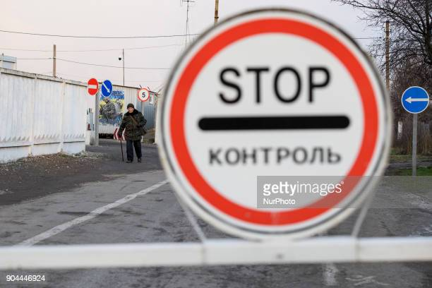 Checkpoint quotHnutovequot in Hnutove village near Mariupol Ukraine on 12 January 2018