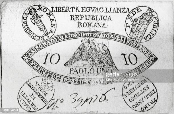 Checks issued by the Roman Republic 17981799 Italy 18th century