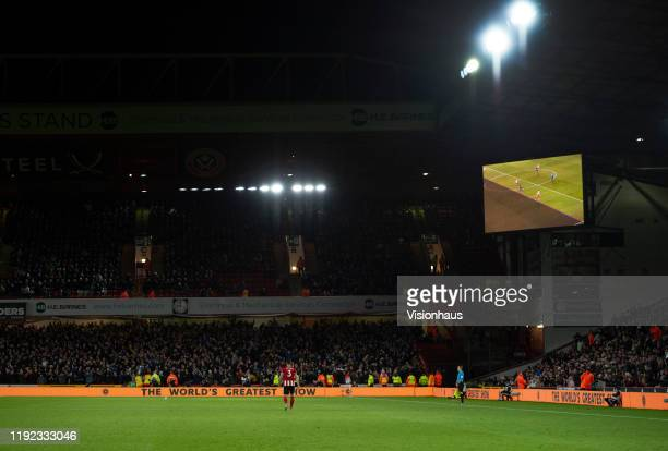 VAR checks Newcastle Uniteds second goal for offside during the Premier League match between Sheffield United and Newcastle United at Bramall Lane on...