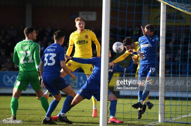 Ched Evans of Fleetwood Town scores his team's first goal during the Sky Bet League One match between AFC Wimbledon and Fleetwood Town at The Cherry...