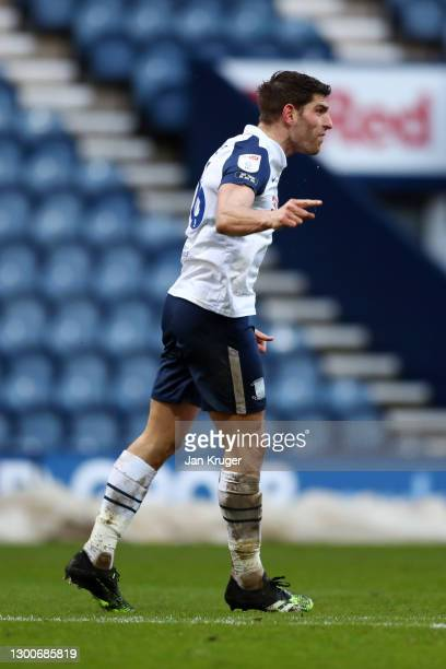 Ched Evans of Preston North End celebrates after scoring his team's first goal during the Sky Bet Championship match between Preston North End and...