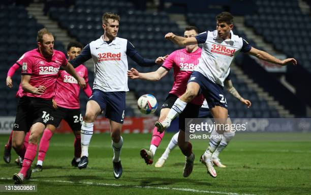 Ched Evans of Preston North End in action during the Sky Bet Championship match between Preston North End and Derby County at Deepdale on April 20,...