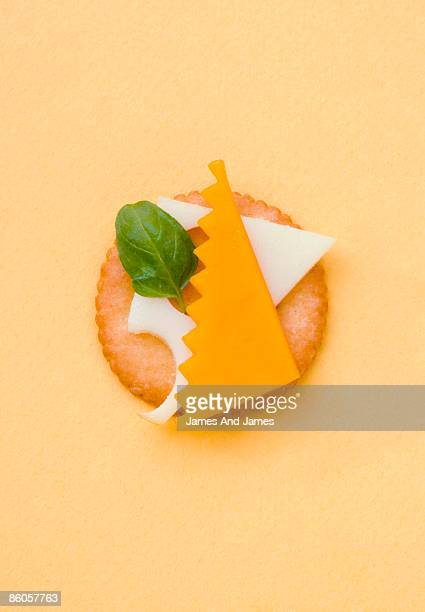 Cheddar and Swiss cheese on cracker