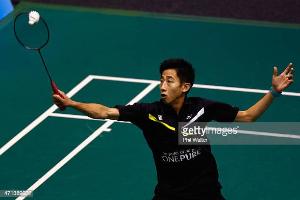 Chee Foong Lim of New Zealand plays a return during his qualifiaction match against Andrew Rouse of New Zealand during the 2015 Badminton Open at...