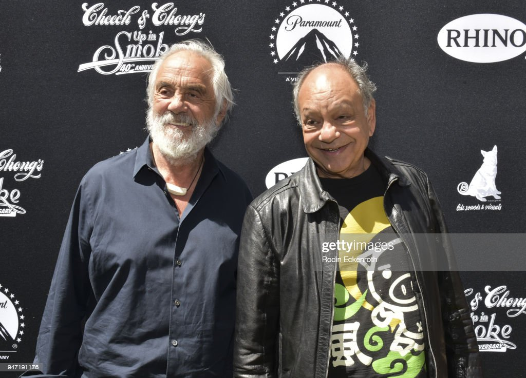 Cheech Marin (R) and Tommy Chong attend their Key to The City of West Hollywood Award Ceremony at The Roxy Theatre on April 16, 2018 in West Hollywood, California.