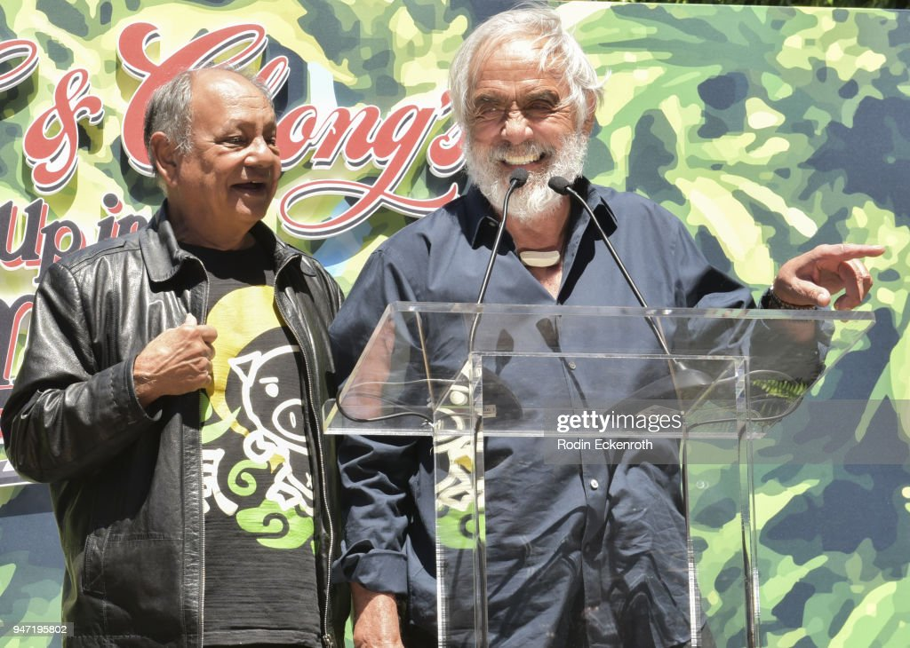 Cheech Marin (L) and Tommy Chong speak onstage at the Key to The City of West Hollywood Award Ceremony at The Roxy Theatre on April 16, 2018 in West Hollywood, California.