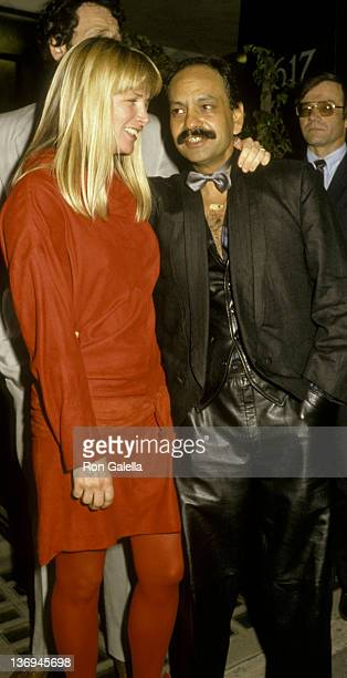 Cheech Marin and wife Patti Heid attend CBS Records Party on February 25 1986 at Rex Restaurant in Los Angeles California