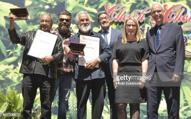 Cheech Marin George Lopez Tommy Chong West Hollywood Mayor Pro Tempore John J Duran Councilmember Lindsey P Horvath and West Hollywood Mayor John...
