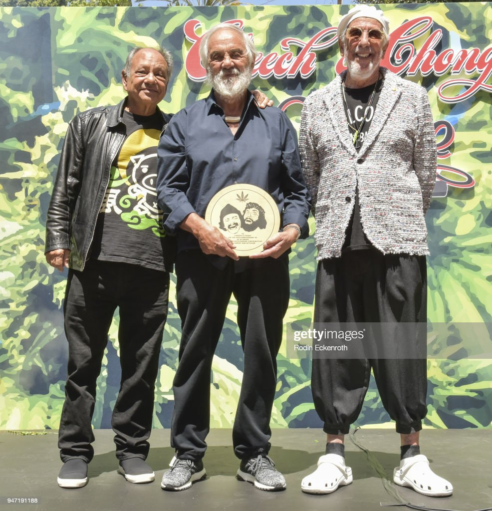 Cheech Marin, Tommy Chong, and producer Lou Adler pose for portait at the Key to The City of West Hollywood Award Ceremony at The Roxy Theatre on April 16, 2018 in West Hollywood, California.