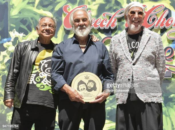 Cheech Marin Tommy Chong and producer Lou Adler pose for portait at the Key to The City of West Hollywood Award Ceremony at The Roxy Theatre on April...