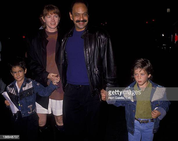 Cheech Marin wife Patti Heid and family attend the opening of Cirque du Soleil on October 11 1990 in Santa Monica California