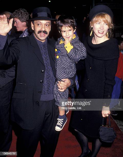 Cheech Marin wife Patti Heid and son attend the premiere of Oliver and Company on November 13 1988 at the Ziegfeld Theater in New York City
