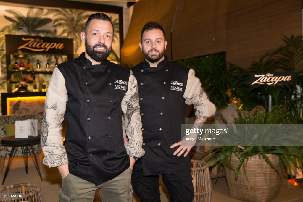 Cheefs Ivan Morales and Alvaro Castellanos from Arzabal in Martina´s Klein design presentation for Zacapa run At ARCO Fair at Ifema on February 21, 2018 in Madrid, Spain.