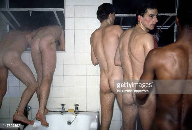 A cheeky view of the celebrations in the Arsenal dressingroom after their Littlewoods League Cup semifinal 2nd leg against Everton at Highbury...