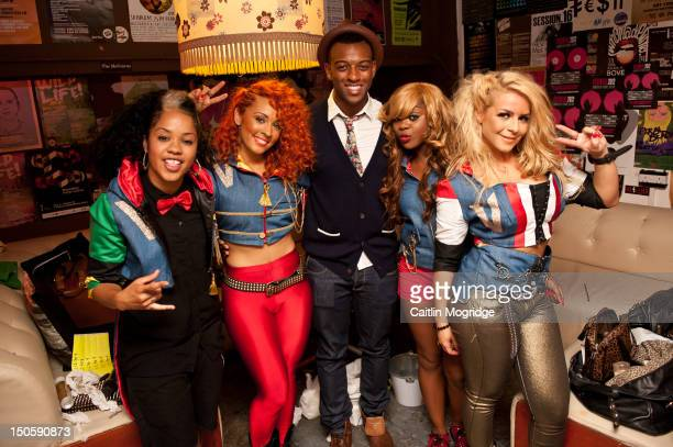 Cheekz AJ Oritse Williams VVee and Jade pose for a photo backstage at Queen Of Hoxton on August 22 2012 in London United Kingdom