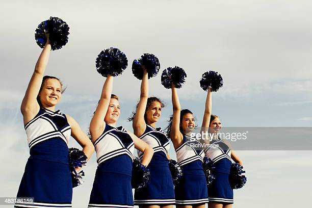 cheer line - asian cheerleaders stock photos and pictures